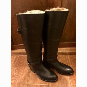 Frye Black Leather Boots with Rabbit fur lining